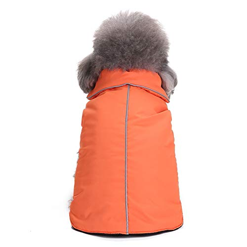Fenverk_Haustier Hund Reversibel GemüTlich Mantel Winter Warm Jacke Winddicht Kleider Britisch Stil Weste Gepolstert Bekleidung KleidungsstüCk Zum Mittel Groß Hunde Katze HüNdchen KostüM(Orange,2XL)