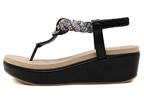 Minetom Femmes Mode Été Des Sandales Bohémien Style Chaussures Talon Compensé Tongs pix5q