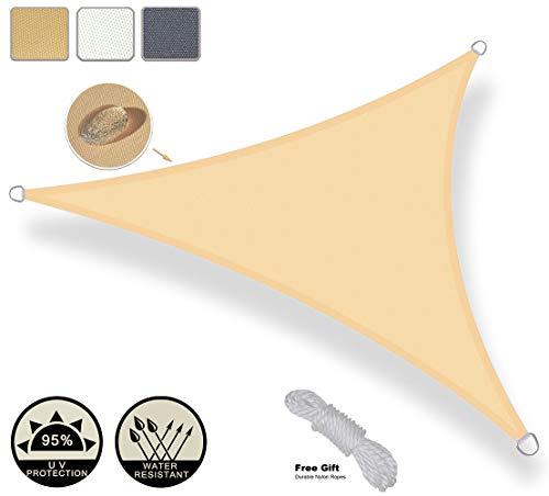 AXT SHADE Toldo Vela de Sombra Triangular 3 x 3 x 3 m, protección Rayos UV Impermeable para Patio, Exteriores, Jardín, Color Arena