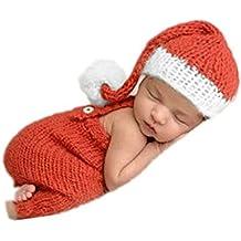 Hecho a mano bebé recién nacido bebé niña niño ganchillo Knit gorro de Navidad pantalones Fotografía Props ropa disfraz