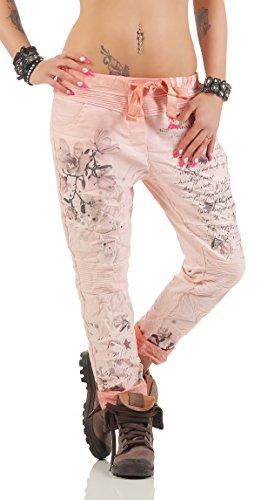 ZARMEXX Damen Baggy Hose Sweatpants Boyfriend Freizeithose Haremshose mit zartem Letter Blumen Print Baumwolle One Size 70509 (Einheitsgröße: Gr. 36-42, lachs) (Blumen-print-hose)