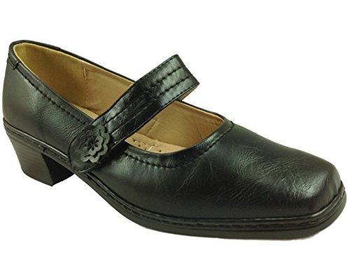 Ladies Phillipa Cushion Walk Black Faux Leather Low Block Heel Mary Jane...