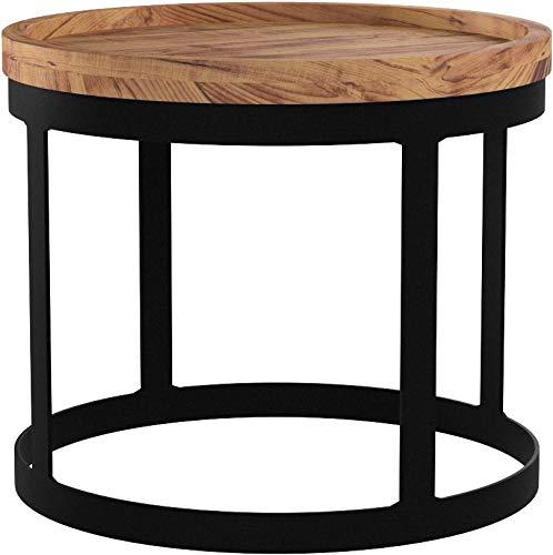 FineBuy 2er Set Beistelltische Massivholz Akazie Wohnzimmer-Tisch Landhaus-Stil Anstelltisch Metallgestell Natur-Holz Couchtisch Natur-Produkt Wohnzimmermöbel Massivholzmöbel Echtholz Anstelltisch