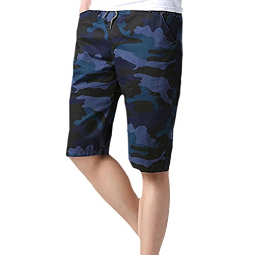 MOIKA Herren Freizeitshorts, Sommer Herren Sporthosen Camouflage Beach Shorts Casual Shorts Slim Fit(2XL,Blau)