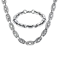 AMDXD Jewelry Stainless Steel Bracelet Necklace Sets for Men Marina and Circle Silver 60.3X1CM