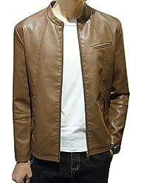Hombre Chaqueta De Cuero PU Imitación con Cremallera Jacket Outerwear Manga Larga