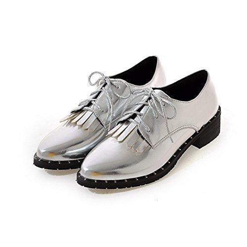 VogueZone009 Donna Tacco Basso Luccichio Puro Allacciare Scarpe A Punta Ballet-Flats Argento