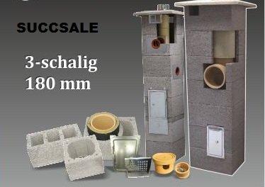 SUCCSALE-NICPONT Keramikschornstein Bausatz 3-Schalig Massiv DN180 6,66m