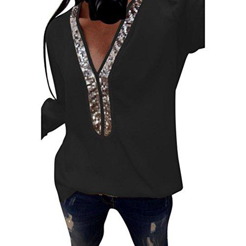 UFACE Damen V-Ausschnitt Langarm-Pailletten-Top Pailletten Langarm-V-Ausschnitt Tops Casual Bluse T-Shirt(Schwarz,EU/46CN/L)