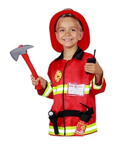feuerwehrjacke kinder Matissa Kinder Feuerwehrmann Rollenspiel Kostüm und Zubehör Feuerwehr Feuerwehrchef (Groß (5-8 Jahre), Lichtset)
