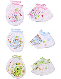Little Swag Baby's Soft Cotton Unique Printed Mitten and Booties, 0-3Months(Multicolour, mit02b) - Set of 3