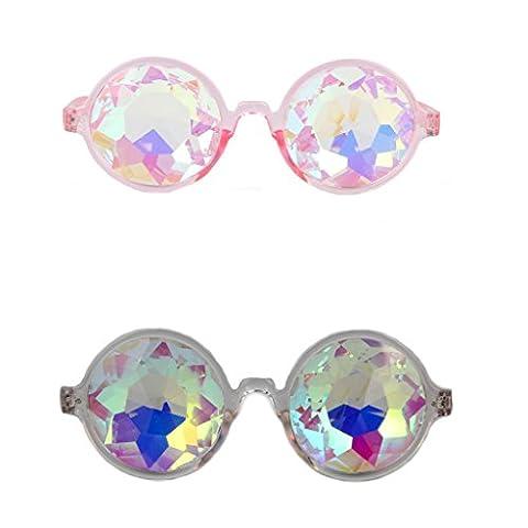 FLORATA 2 Pack Kaleidoscope Glasses, Rainbow Crystal Lenses - Multicolor