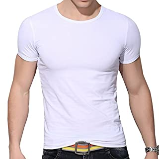 Ai.Moichien Mens Casual Cotton Fit T Shirt Round Neck Solid Color Muscles Slim Tops Shirts Tee …
