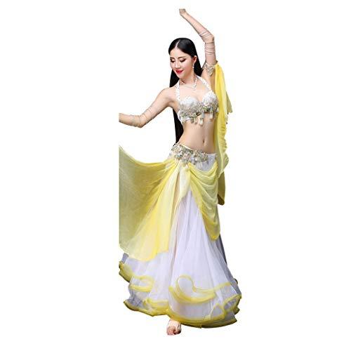 DRESSS Bauchtanz Kostüm Herbst Winter Sexy Fairy Dance Performance Bekleidung (Color : Yellow, Size : - Herbst Fairy Kostüm