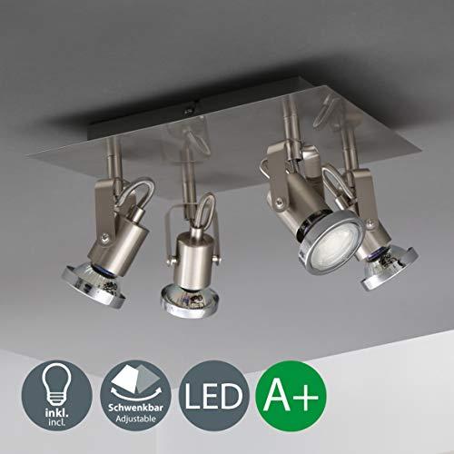 Plafoniera LED con faretti orientabili, include 4 lampadine LED GU10 ...
