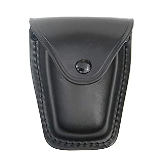 A.Blöchl Leather Case For Handcuffs Black Leather Wallet With Snap Button Closure and Belt Clip Holster