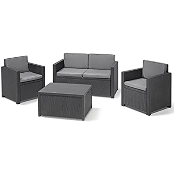 Allibert 212406 lounge set corona mit kissenbox - Salon de jardin allibert hawaii lounge set ...