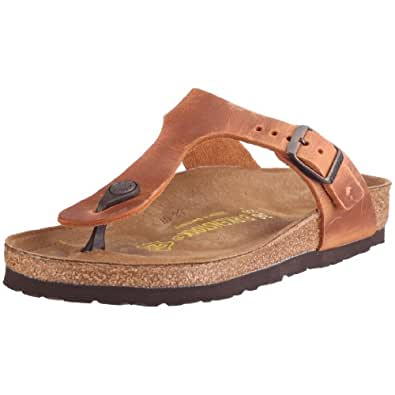 Birkenstock Gizeh Smooth Leather, Style-No. 743781, Unisex Thong Sandals, Antique Brown, 2.5 UK Slim (35 EU)