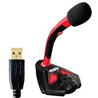 KKmoon COOL COLD USB Powered Plug and Play Adjustable Desktop Microphone Mic Stand with Foam Cover LED Light for Computer Laptop PC Mac Online Chatting Recording Gaming