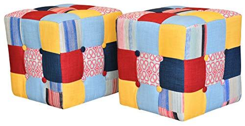 Set 2 pouf cubici in patchwork,35x35x35cm,sgabello,poggiapiedi