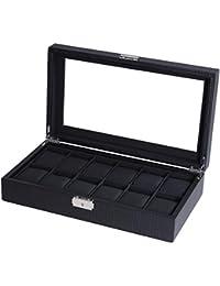 BASTUO Watch Box Mens Watch Display Organizer Carbon Fiber Leather 12 Watch Storage Case,Black