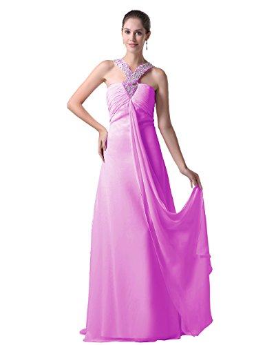 Dressystar Damen Kleider Abendkleider Sommerkleider A-Linie Bodenlang Chiffonkleider Festkleider Frauen Lilac in Größe 44W