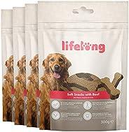 Amazon-Marke: Lifelong - Hundeleckerli, reich an Protein mit Rind (4 Packungen x 300gr)