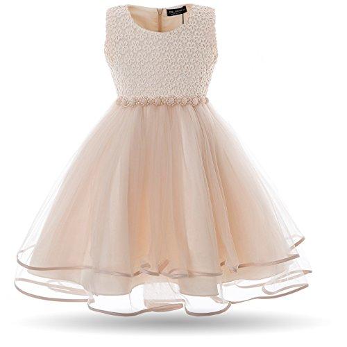 CIELARKO Mädchen Kleid Blumen Perlen Festlich Hochzeits Blumenmädchen Kleider