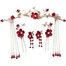 shunlidas Decoración del Hogar Bodas Flores Flores Secas Tocado De Novia  Chino Antiguo Flores De Color 905056123a94