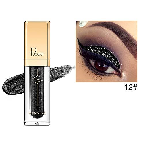 Mally Beauty Auge (TAOtTAO metallic shiny smoky eyes lidschatten wasserdichter glitzer eyeliner wasserfester schwarzer pen eye liner pencil make-up (L))