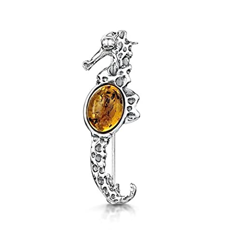 Amberta 925 Sterling Silver with Baltic Amber – Seahorse Brooch/Pin