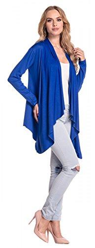 Glamour Empire Damen Wasserfall-Jacke Shirtjacke mit lange Ärmel. 320 Königsblau