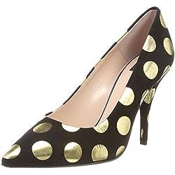 Moschino Gold Spot Court - punta cerrada de cuero mujer, color negro, talla 41