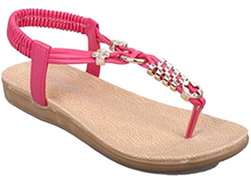 Minetom Damen Lieblings-Schuhe Sommerschuhe Sandalen Wohnungen Hausschuhe Wedges Sandale Mädchen Metallschließe Anhänger T Korsar Partei Riemchen Zehentrenner Rom Flip Flops Pink