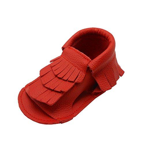 Sayoyo Lauflernschuh Weiche Leder Babyschuhe Sandale(0-6 Monate, Blau) Rot