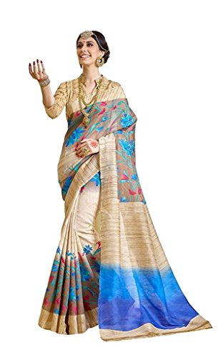 Saree ( By BuyOnn Women\'s Multicolor Bhagalpuri Art Silk Saree With Blouse)