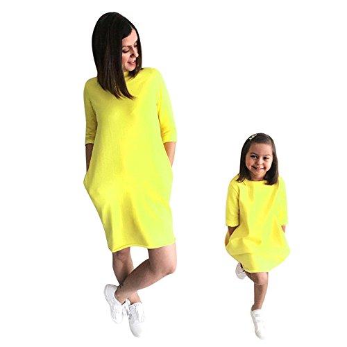 Mutter Tochter Kleidung Einfarbig Sommerkleid