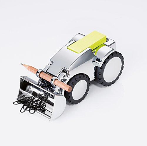 TROIKA DIGGER - GAM40/CH - Porta graffette veicolo piano multifunzione - fermacarte - portapenna incl. 1 matita - metallo pressofuso- lucido - argento, nero - TROIKA-originale