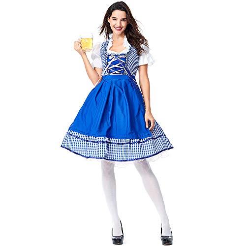 Leoie Zimmermädchen Kleid blau kariert Custome Cosplay Dirndl für Bier Festival Halloween Karneval Kleidung Blaues Plaid S 226 Verkleidung