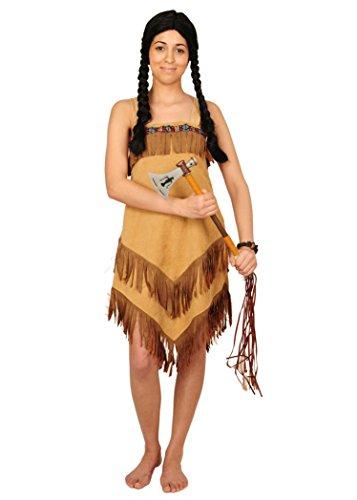 KARNEVALS-GIGANT Indianer Kostüm braun-beige für Damen | Größe 36-38 | einteiliges Pocahontas Kostüm | Squaw Faschingskostüm für Frauen | Indianerin Kleid mit Fransen
