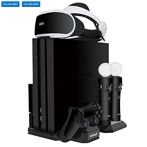 [Versión Actualizada] ieGeek Soporte de Carga PSVR, Stand Vertical PS4 Pro / PS4 Slim / PS4, [Todo en 1] Accesorio PS4 PlayStation VR, Refrigerador PS4, Cargador para Mandos DualShock 4 y PS Move