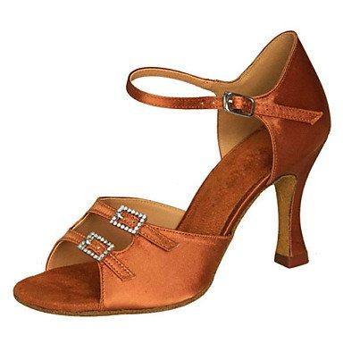 Ruhe @ Damen Tanzschuhe Latin/Swing Schuhe/Salsa/Samba Satin Stiletto Heel Schwarz/Braun/andere Braun