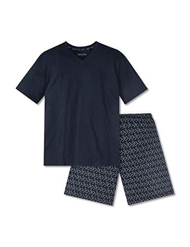 Schiesser Herren Anzug Kurz Zweiteiliger Schlafanzug, Blau (Dunkelblau 1 803), Large (Herstellergröße: 052)