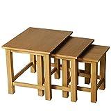 homcom Set 3 Tavolini da caffè da Salotto Soggiorno ad Incastro Impilabili in Legno Massello