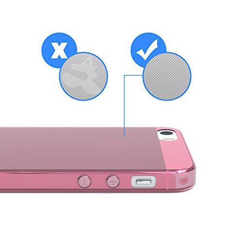 """EAZY CASE Handyhülle für Apple iPhone SE, iPhone 5S/5 Hülle - Premium Handy Schutzhülle Slimcover """"Clear"""" hochwertig und kratzfest - Transparentes Silikon Backcover in Klar / Durchsichtig Rosa"""