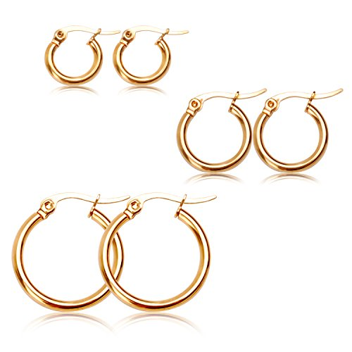 2e5bd9d4c CHARMINGO Hoop Earrings for Women Men Hypoallergenic Huggie Steel Stainless  Round Earrings Gold