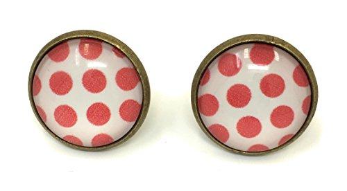 Rock-and-roll-schmuck (Polka-Dot Ohrringe Peggy Sue Rockabilly Set 50er 60er Jahre Rockn Roll Schmuck (weiß/rot))
