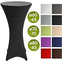 Beautissu Stella - Hermosa funda elástica para mesa bar bistro - Cobertura - Mantel de diseño - Ø 80-85cm - negro