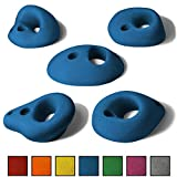 ALPIDEX 5 L Klettergriffe im Set verschieden ausgeformte Lochhenkel in vielen Farben, ergonomische, kantenfreie Oberflächen, vielfältige Griffmöglichkeiten vom 2- bis 4-Finger-Loch bis zum schwierigen Sloper, Farbe:Balance Blue