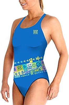 Swim Secure bañador tira ancha mujer maorí blue polynesia (natación y triatlon, waterpolo,deportes acuáticos) ENDURANCE, COMPETICION